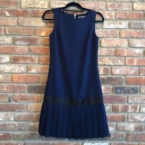 Karl Lagerfeld Blue Pleated Bow Dress Size 4